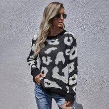 Allover Pattern Drop Shoulder Sweater