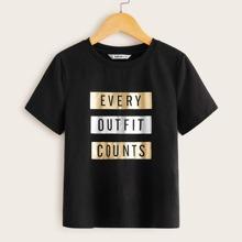 Maedchen T-Shirt mit Buchstaben Grafik