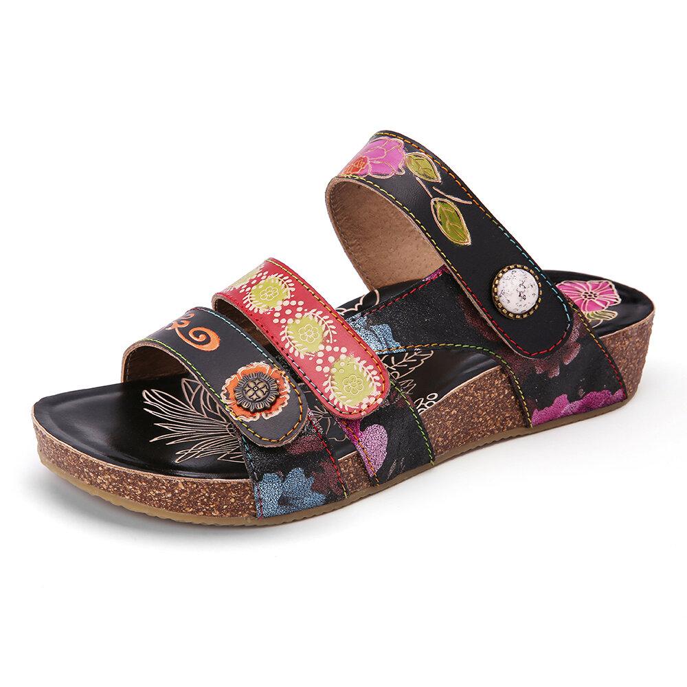 SOCOFY Leather Embossed Floral Hook Loop Slip on Slides Wedge Sandals
