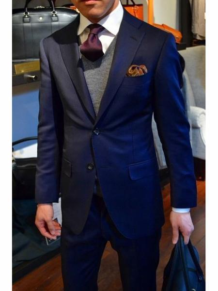 Navy Blue Suit With Grey Vest Vested 3 Piece Wool suit
