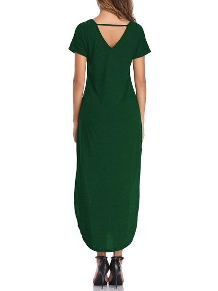 Milanoo Vestidos largos Mangas cortas Vestido de algodon hasta el suelo con cuello en V burdeos