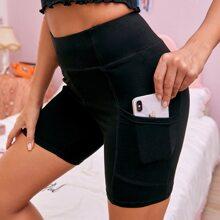 Wide Waistband Stitch Detail Pocket Side Biker Shorts