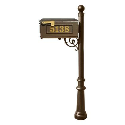 LMCV-804-BZ Lewiston Equine Mailbox Post System with decorative fluted base  ball finial and Gold Vinyl personalized