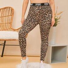 Plus Letter Tape Waist Leopard Leggings