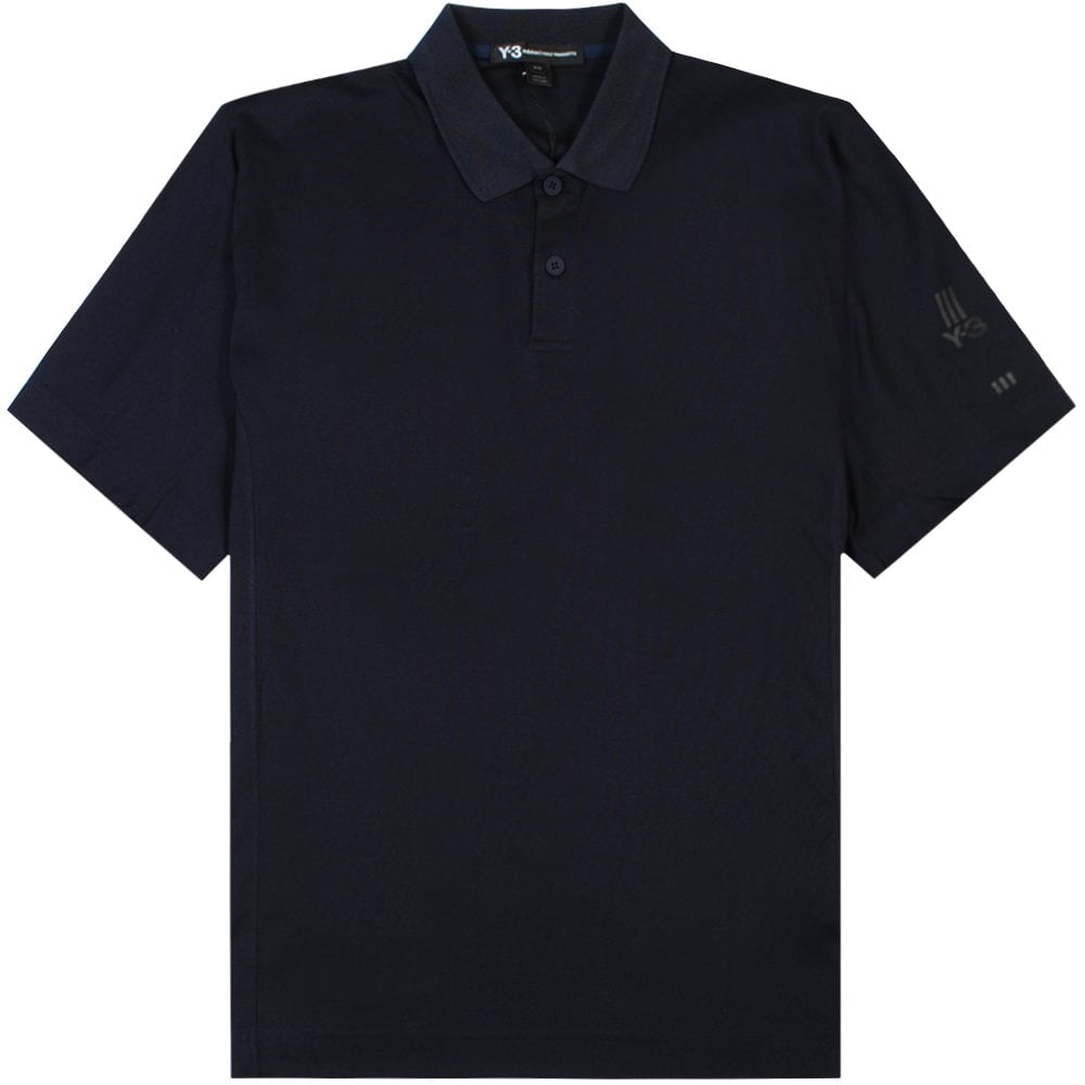 Y-3 Arm Logo Polo Shirt Navy Colour: NAVY, Size: LARGE