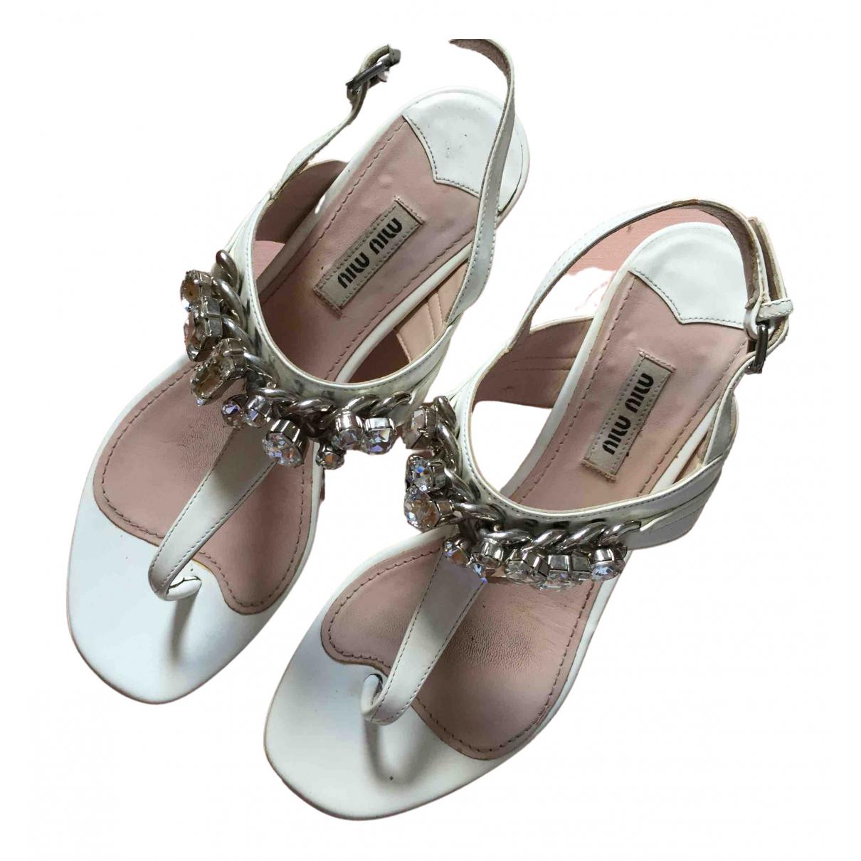Miu Miu N White Patent leather Sandals for Women 37 EU
