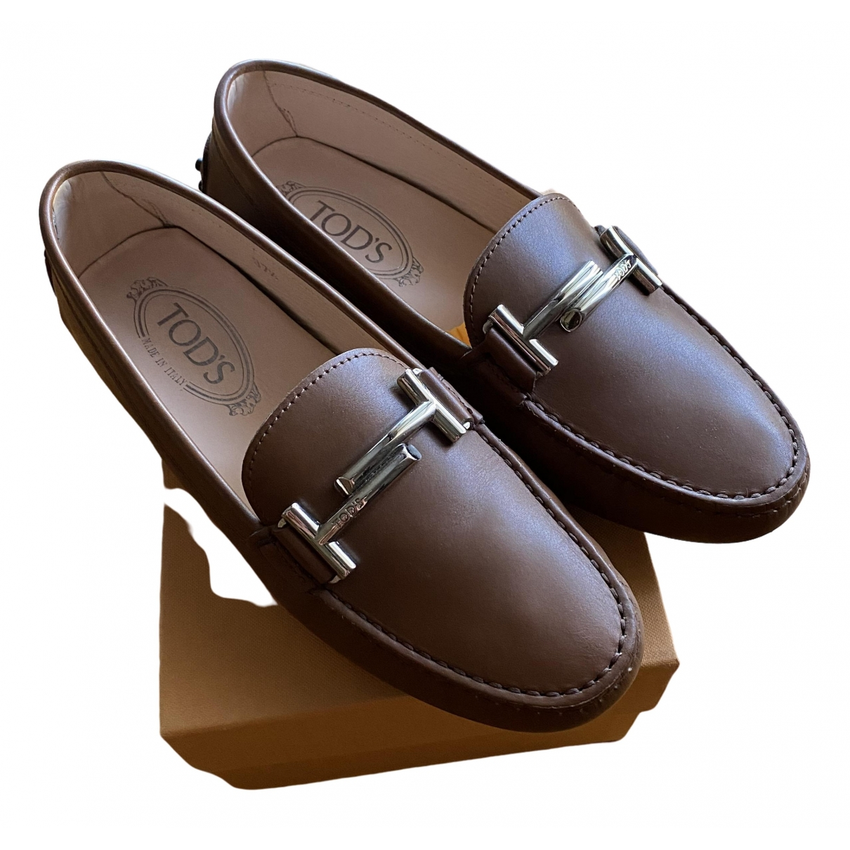 Tod's Gommino Camel Leather Flats for Women 37.5 IT
