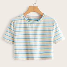 Vielfarbig Gestreift Laessig T-Shirts
