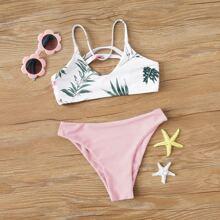 Maedchen Bikini Badeanzug mit tropischem Muster