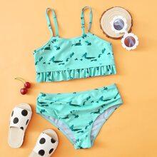 Gerippter Bikini Badeanzug mit Batik