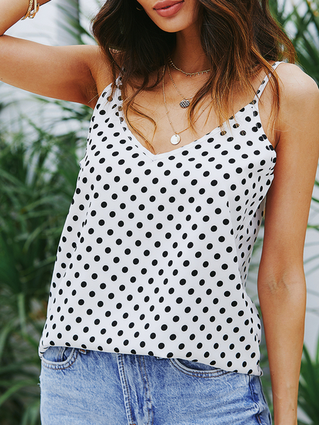 YOINS White Adjustable Shoulder Straps Polka Dot V-neck Sleeveless Cami