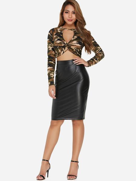 Yoins Black Zip Design Knee Length Leather skirt