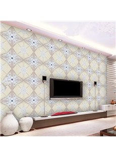 Beautiful Flowers Plaid Pattern TV Background Decoration Wall Murals