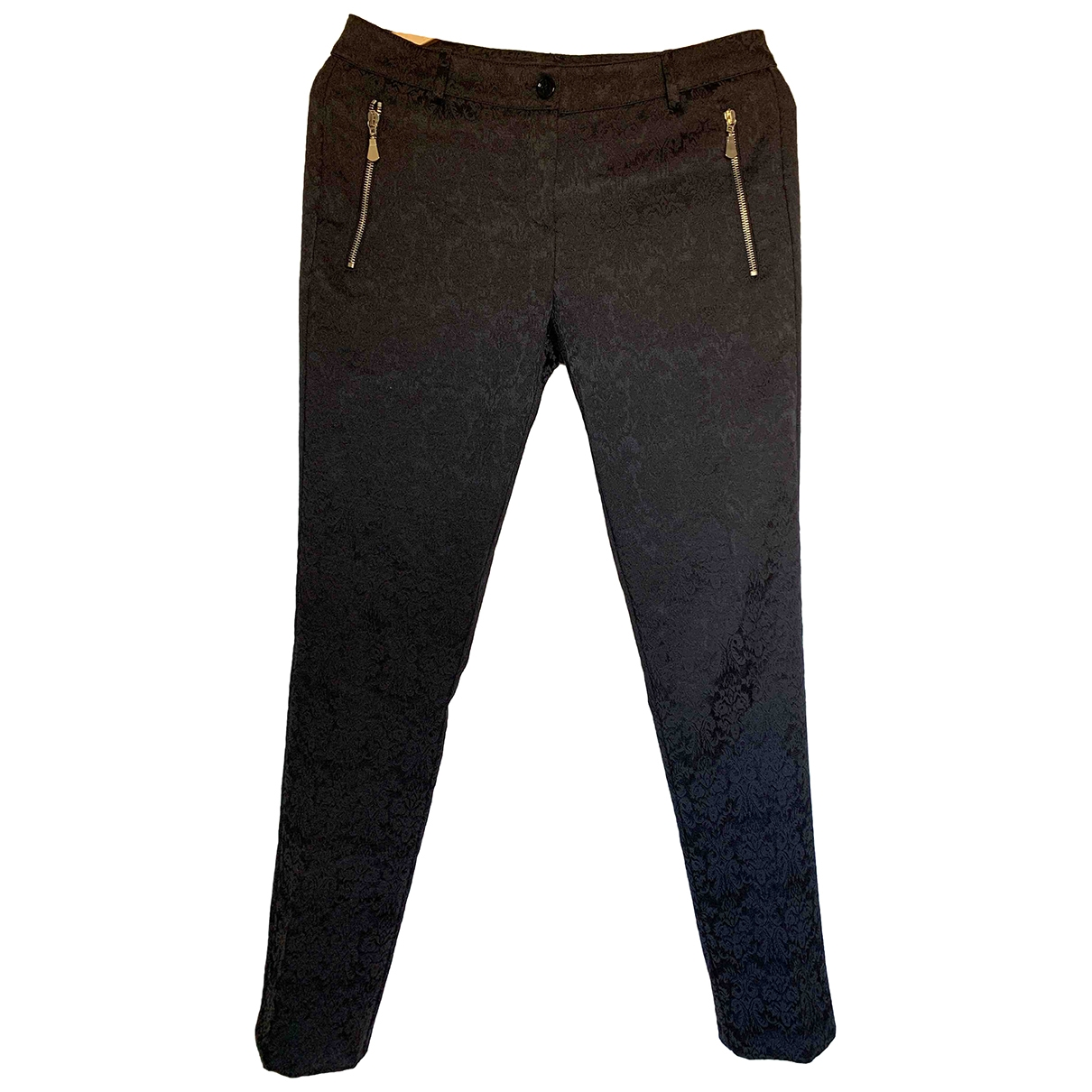 Non Signé / Unsigned \N Black Cotton Trousers for Women 38 IT