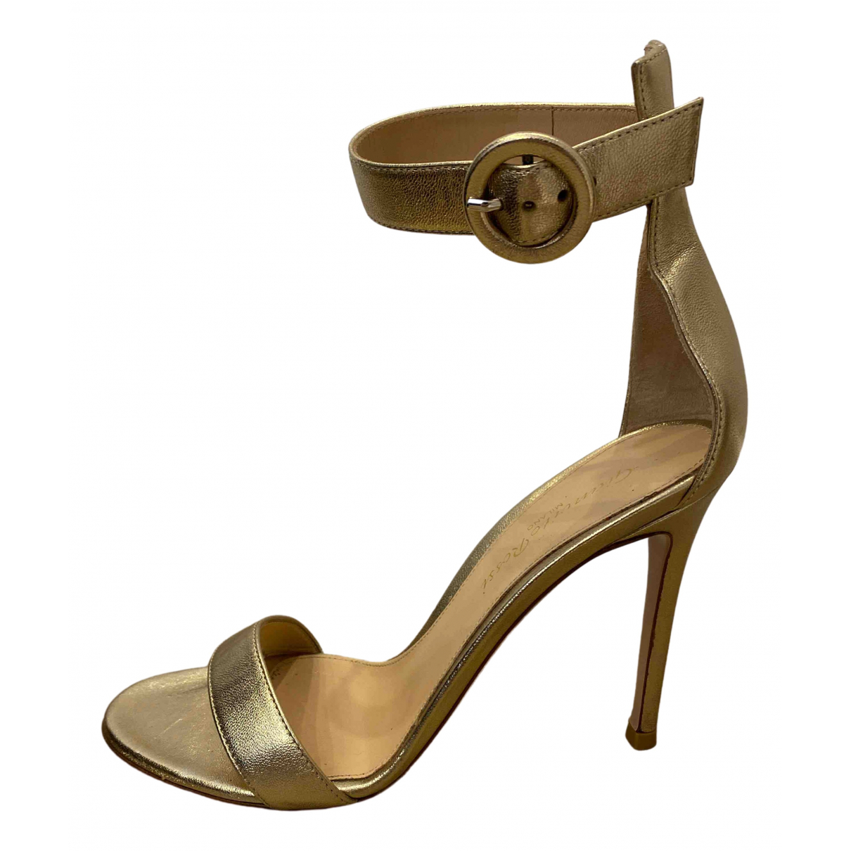 Gianvito Rossi Portofino Gold Leather Sandals for Women 36.5 EU