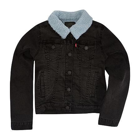 Levi's Big Girls Denim Jacket, Large , Black