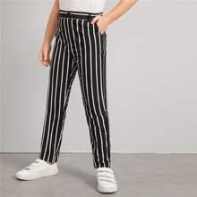 Pantalones de niños de rayas con bolsillo oblicuo