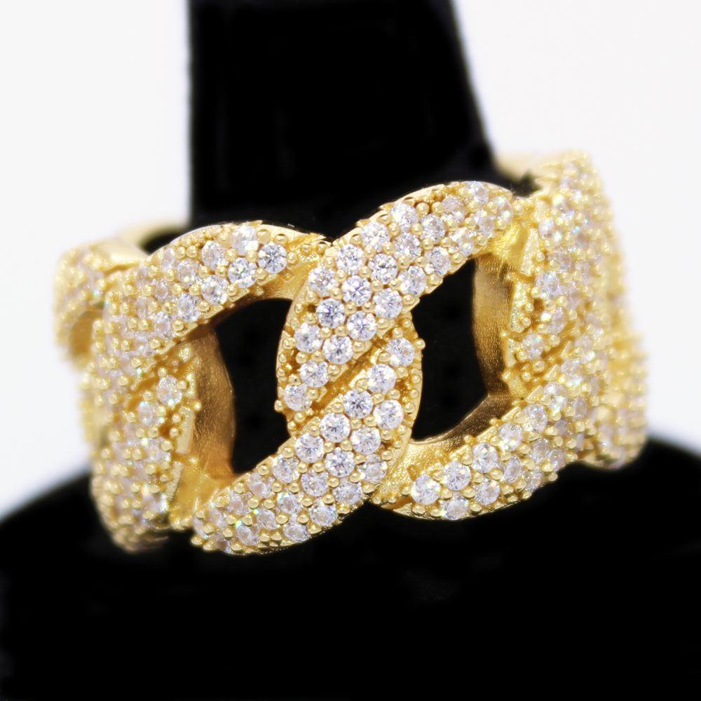 .925 Silver Miami Cuban CZ Hip Hop Bling Ring