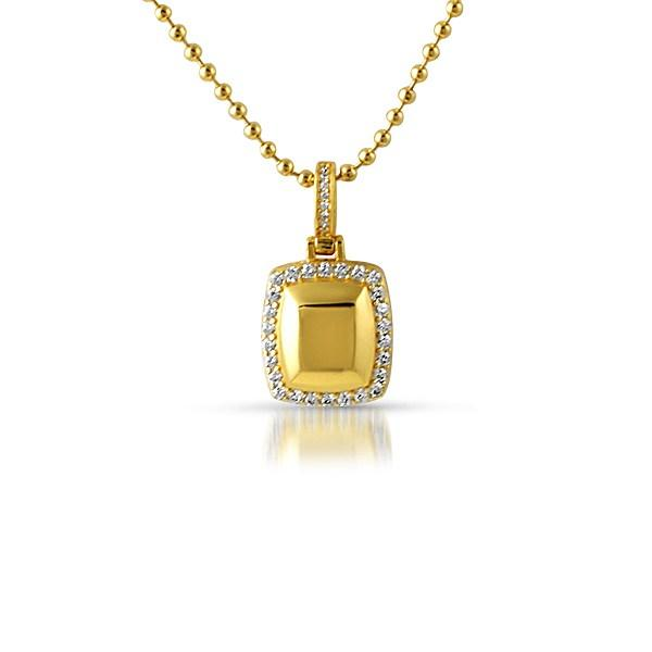 .925 Sterling Silver Gold Gem Style CZ Pendant