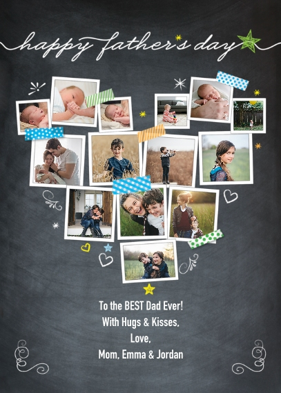Fathers Day 5x7 Folded Cards, Premium Cardstock 120lb, Card & Stationery -Fathers Day Snapshots Heart