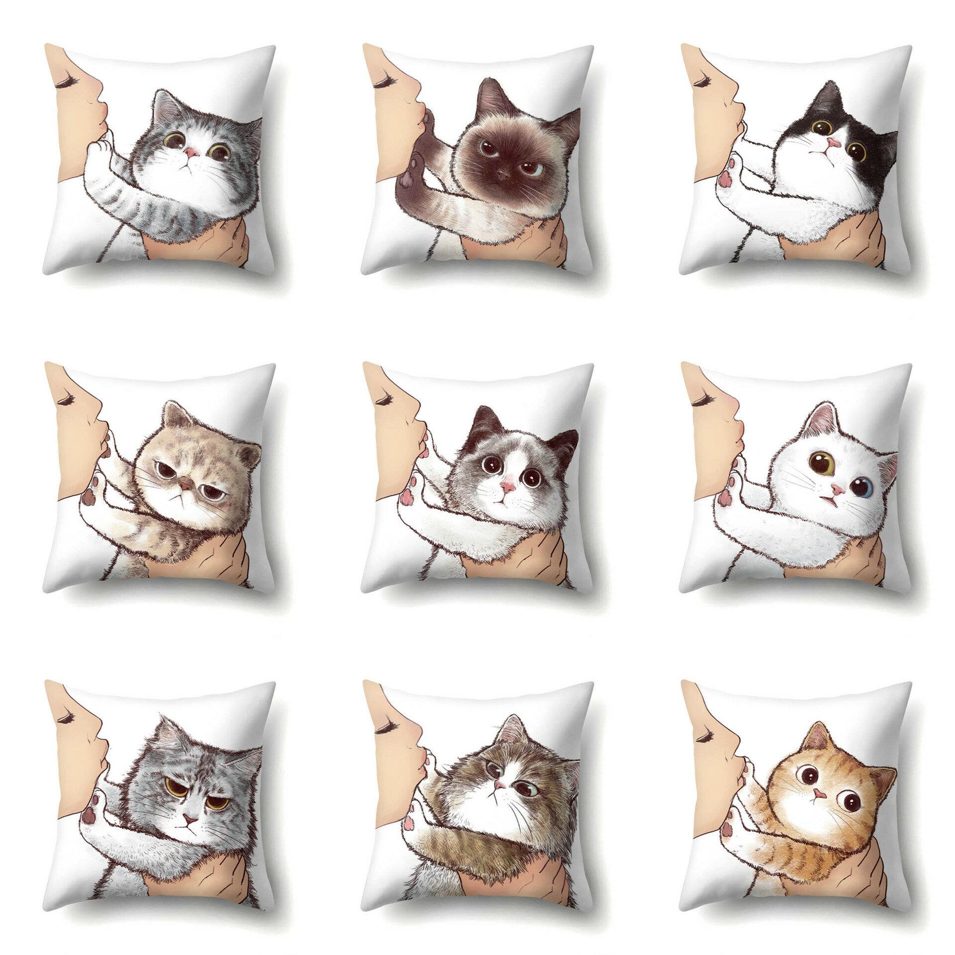 Cat Geometric Creative Single-sided Polyester Pillowcase Sofa Pillowcase Home Cushion Cover Living Room Bedroom Pillowca