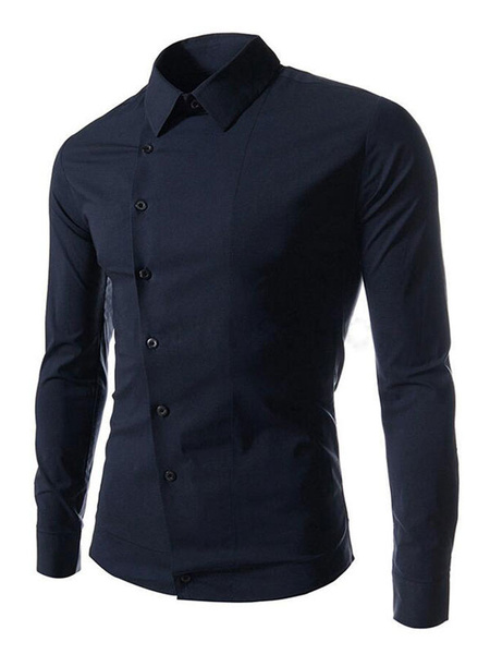 Milanoo Men Casual Shirt Cotton Navy Blue Top Surplice Long Sleeve Shirt