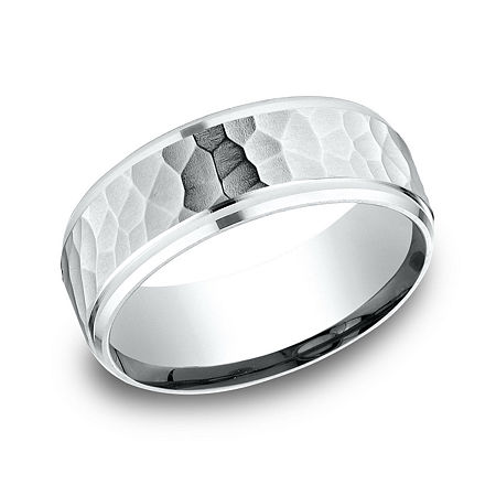 Mens 10K White Gold 8mm Band, 10 1/2 , No Color Family
