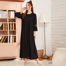 Contrast Lace Peter Pan Collar Solid Night Dress
