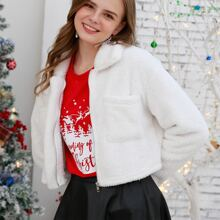 Christmas Zip Up Pocket Crop Teddy Jacket