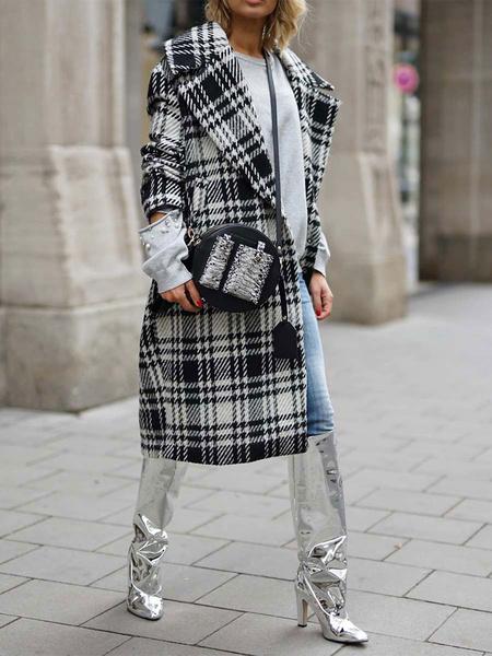 Milanoo Woman Coat Plaid Turndown Collar Buttons Casual Black Wrap Coat Winter Outwear