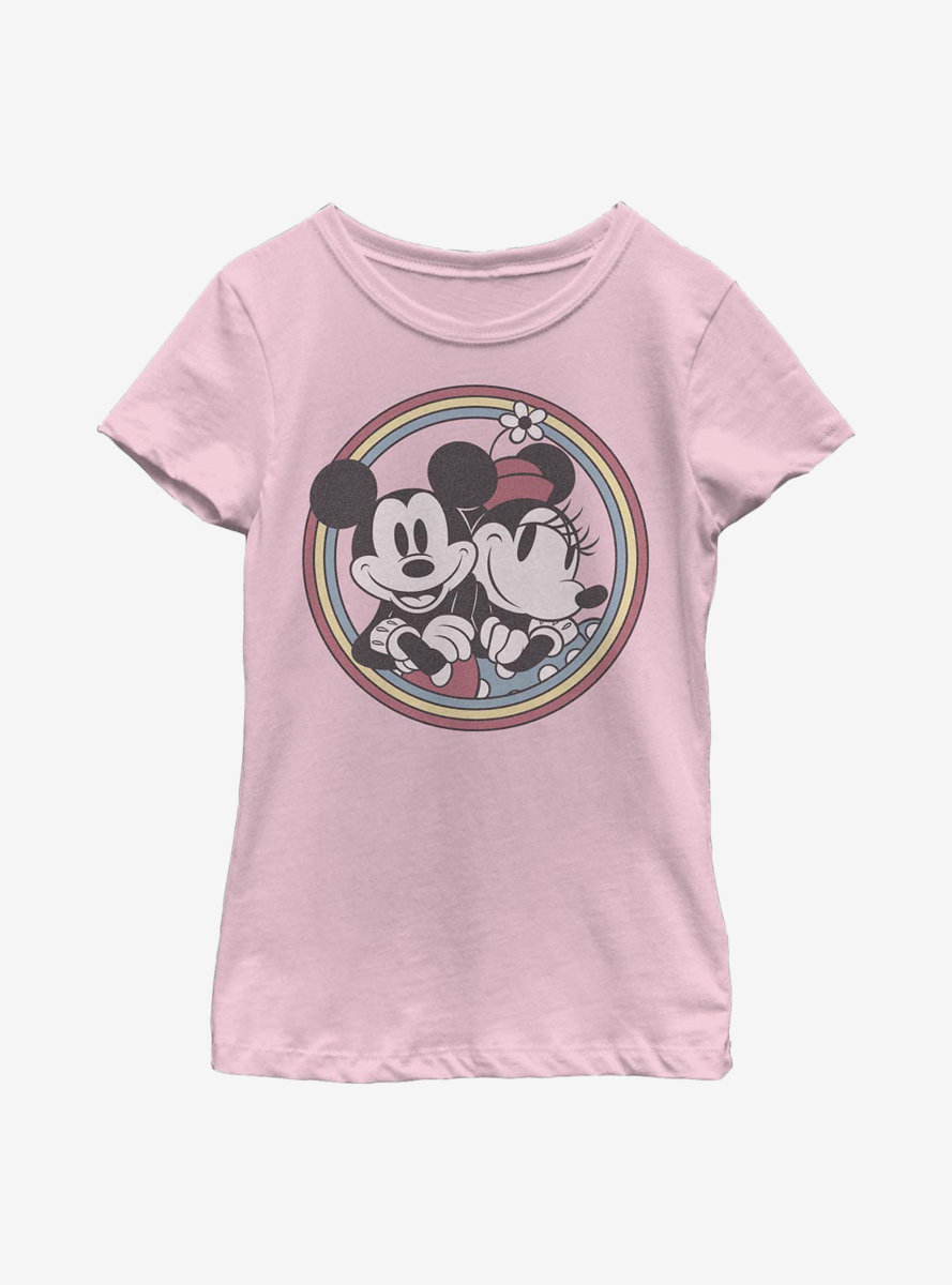 Disney Mickey Mouse Retro Mickey Minnie Youth Girls T-Shirt