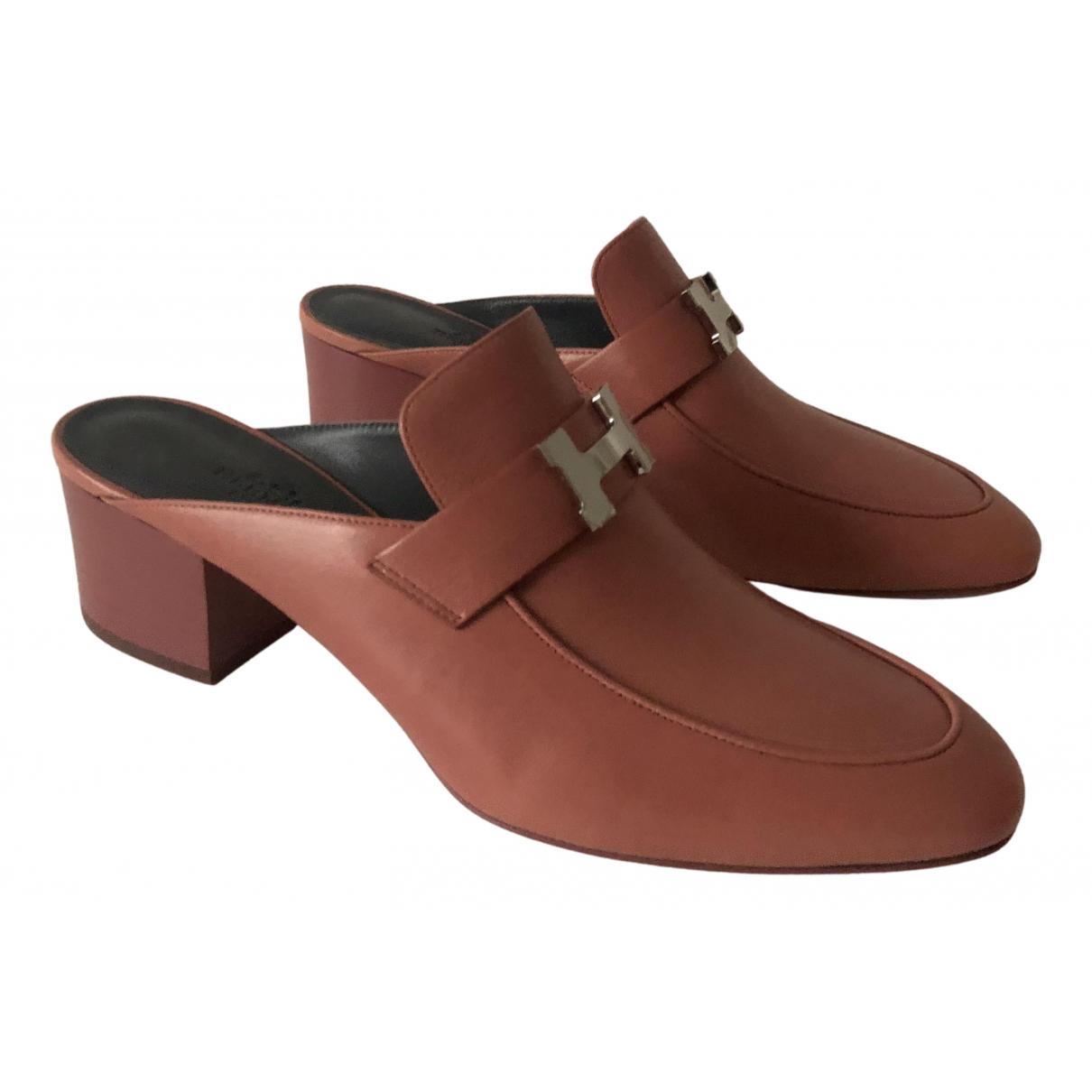 Hermes - Sandales Paradis pour femme en cuir - rose