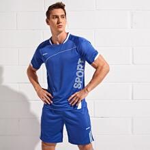 T-Shirt mit Buchstaben Grafik & Shorts Sports Set