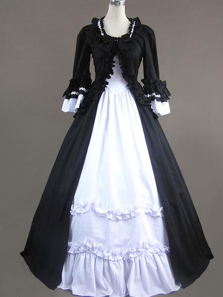 Milanoo Victorian Retro Costumes Women's Rococo Retro Costumes Ruffles Bow Marie Antoinette Victorian Era Style Clothing Costume Vintage Clothing