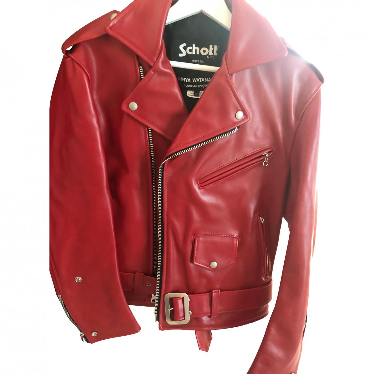 Schott \N Lederjacke in  Rot Leder