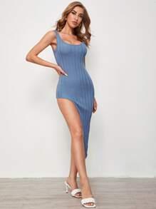 Asymmetrical Hem Rib-knit Dress