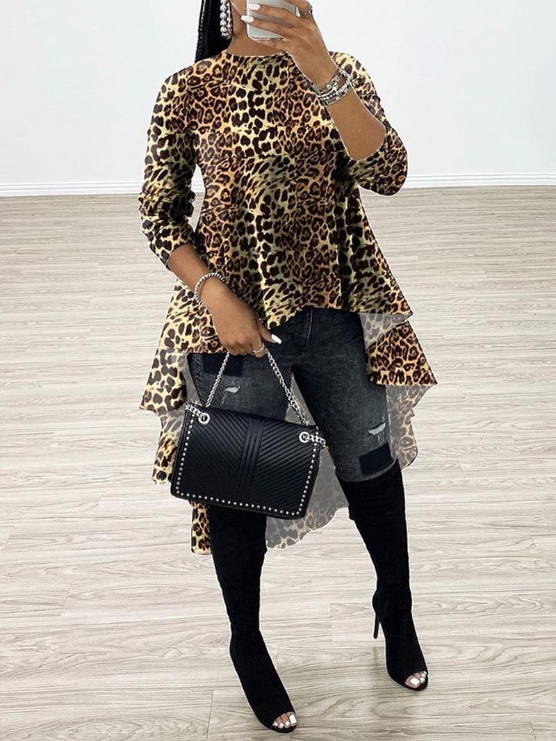 Ericdress African Fashion Leopard Regular Patchwork Long Sleeve Long Blouse
