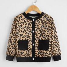 Toddler Girls Leopard Dual Pockets Jacket