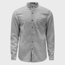 Men Mock Neck Patch Pocket Striped Shirt