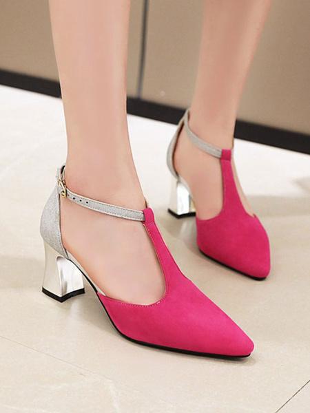 Milanoo Zapatos de tacon medio bajo para mujer Correa de tobillo tipo T color melocoton Punta puntiaguda Bombas antideslizantes de tacon grueso
