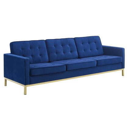 Loft Collection EEI-3387-GLD-NAV 91 Sofa with Mid-Century Modern Style  Tubular Stainless Steel Frame  Non-Marking Foot Caps  Stainless Steel Legs