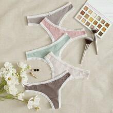 5pack Lace Trim Thong Set