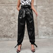 Paperbag Waist Tie Hem Belted PU Leather Pants