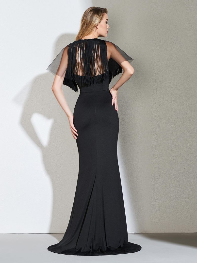 Ericdress Half Sleeve Black Mermaid Evening Dress With Detachable Train