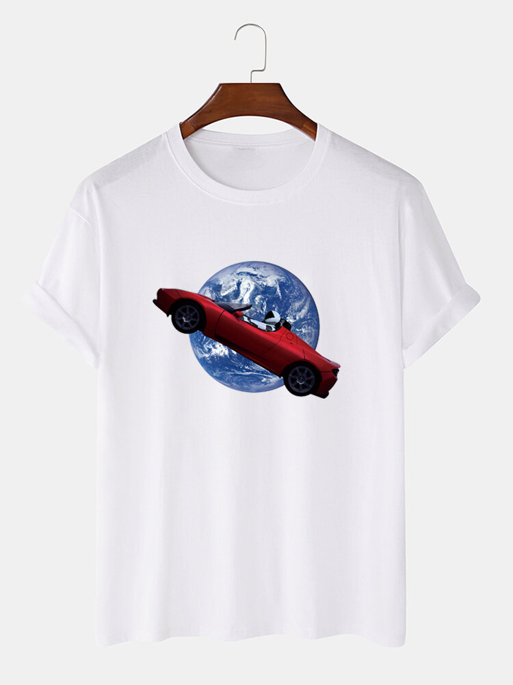 Mens 100% Cotton Funny Graphic Round Neck Casual Short Sleeve T-shirts