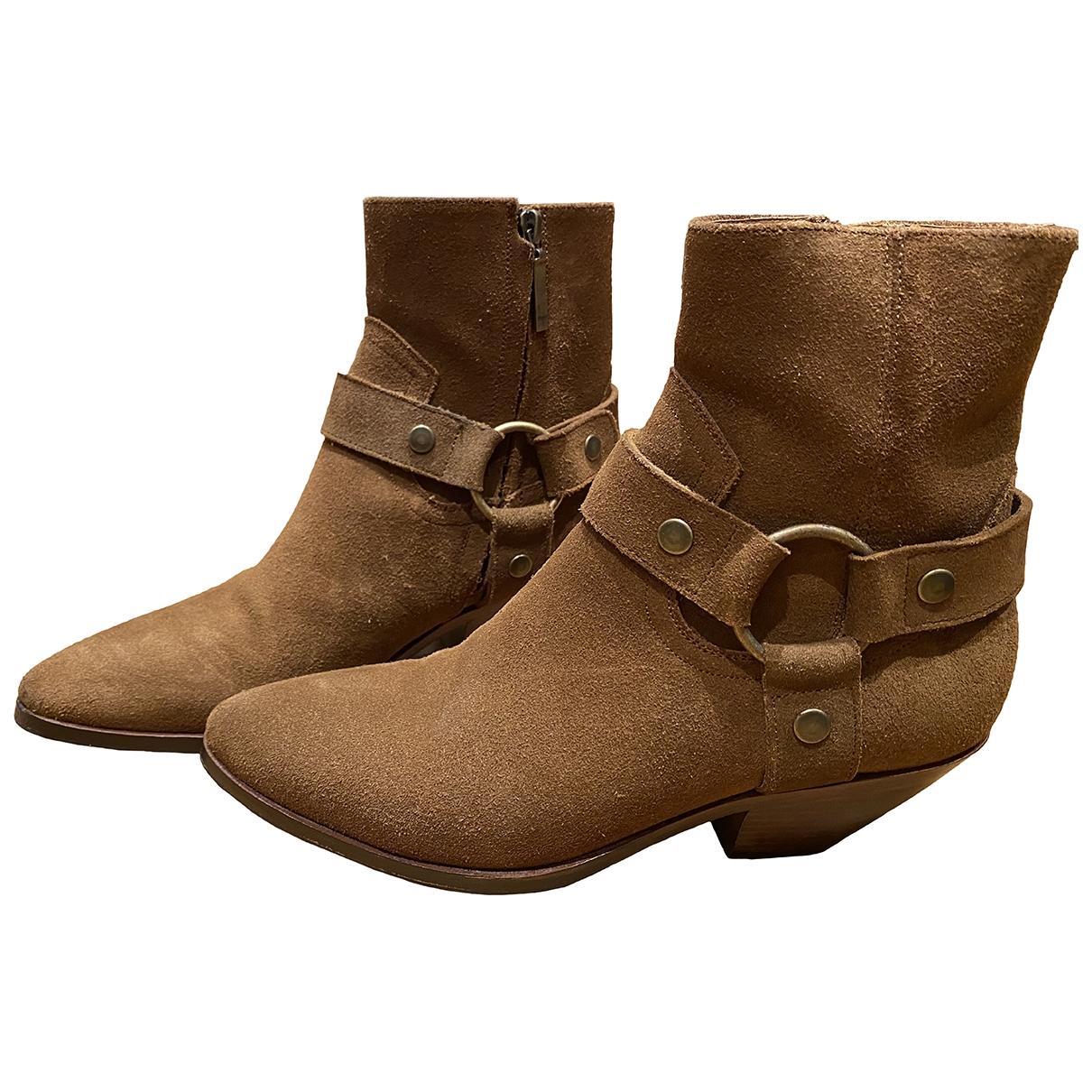 Saint Laurent West Chelsea Camel Suede Ankle boots for Women 38 EU