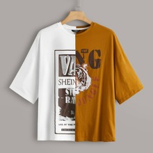 Plus Tiger & Letter Graphic Two Tone Tee