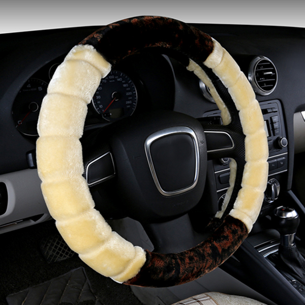 Special Cool Contrast Color Style Design Plush Material Warm Car Steering Wheel Cover