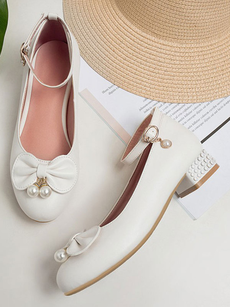 Milanoo Sweet Lolita Calzado Lazos Blancos Zapatos de Tacon Redondo Cuero de PU Zapatos de Lolita