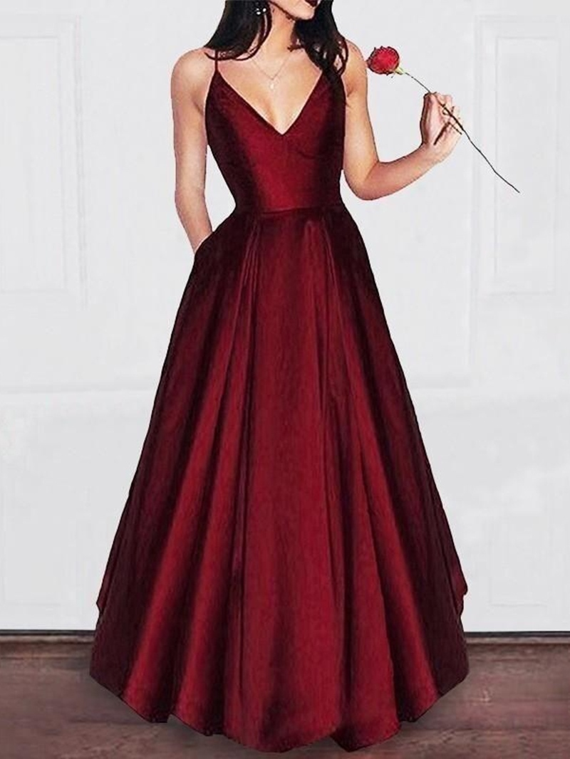 Ericdresss Pockets Spaghetti Straps A-Line Floor-Length Prom Dress